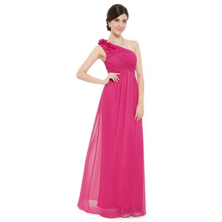 e41492fbd2 Ever-pretty - Ever-Pretty Women's Elegant Long Maxi One-Shoulder Summer  Chiffon Beach Wedding Guest Bridesmaid Dresses for Women 08237 (Hot Pink 4  US) ...