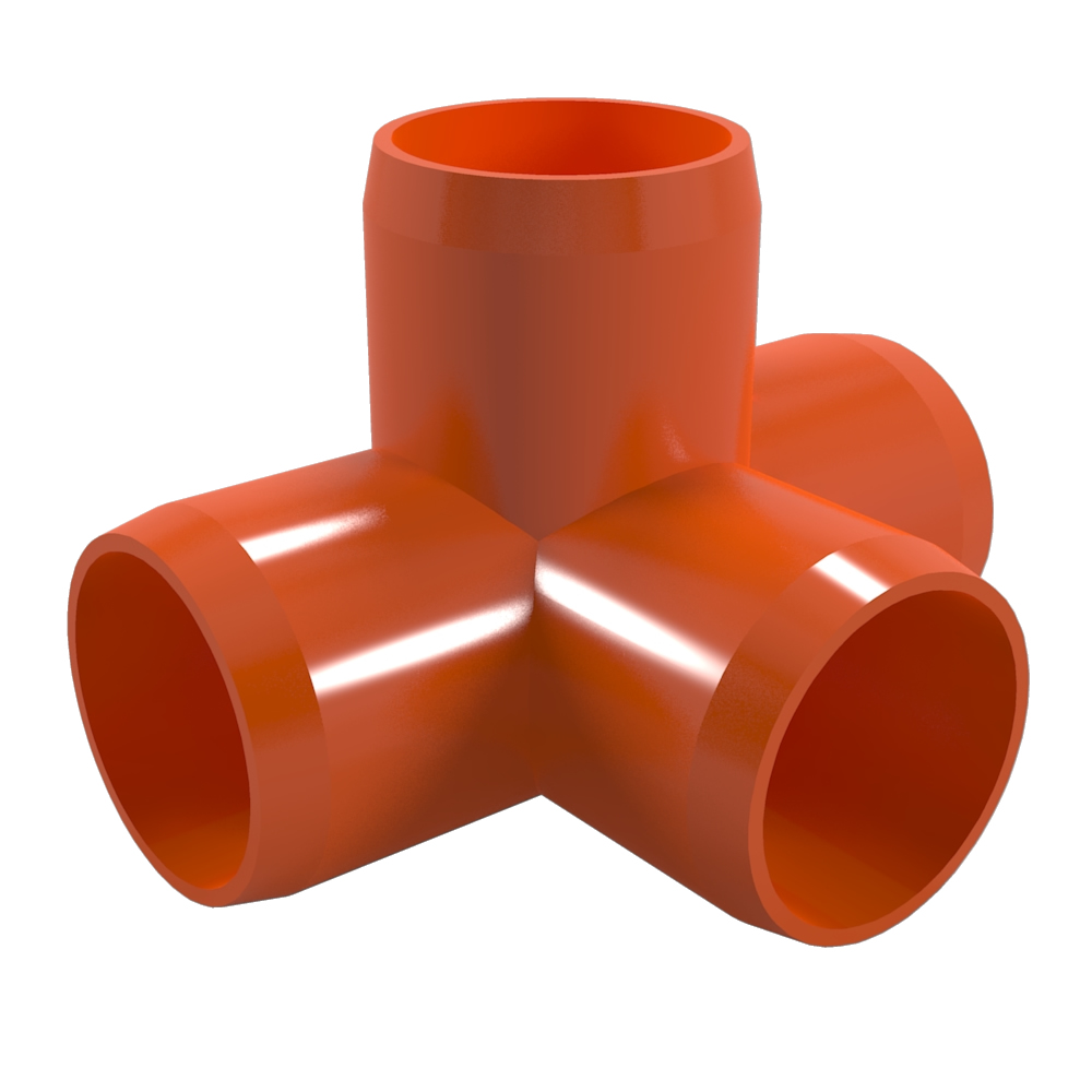 "FORMUFIT F0344WT-OR-8 4-Way Tee PVC Fitting, Furniture Grade, 3/4"" Size, Orange , 8-Pack"