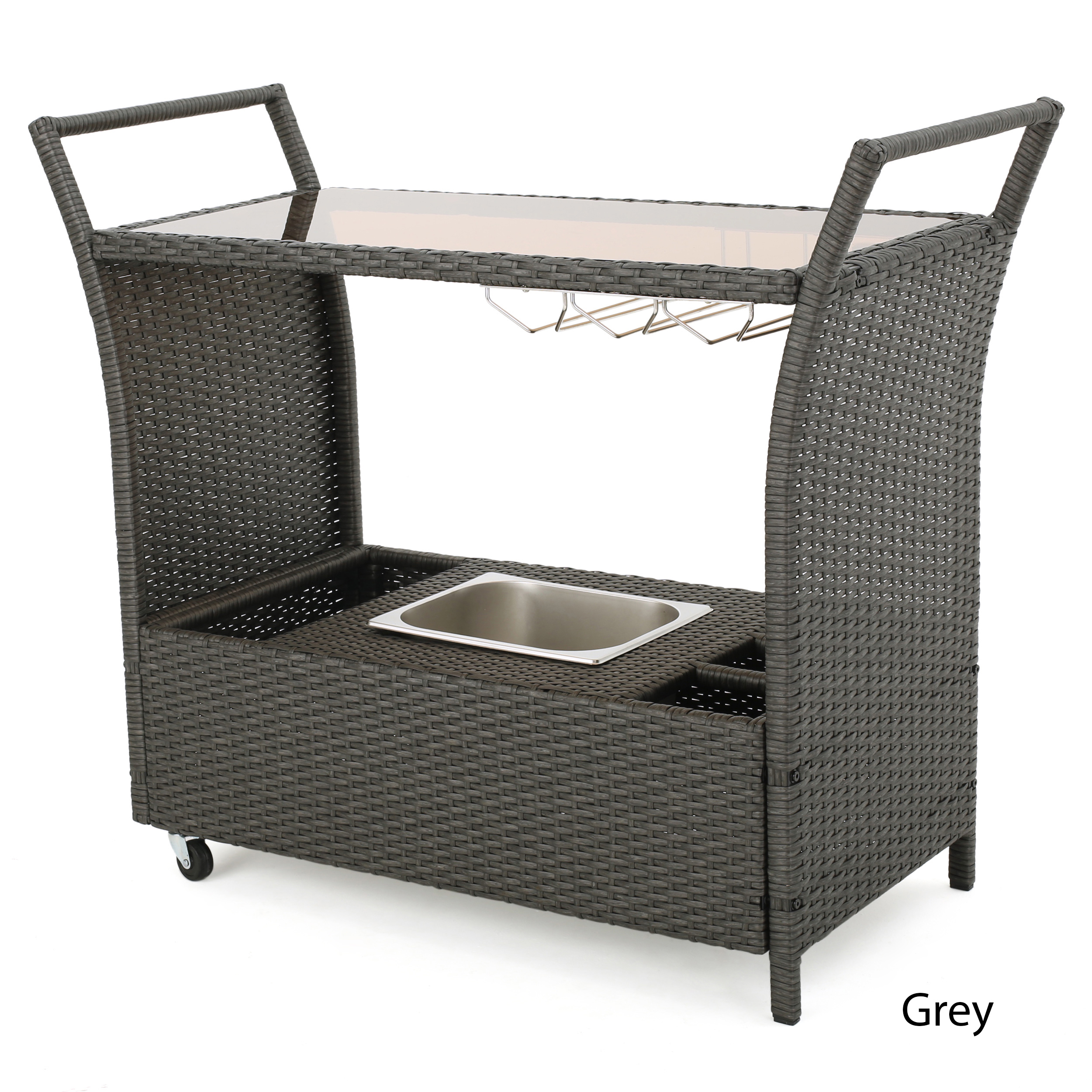 Bahama Outdoor Wicker Serving Bar Cart, Multiple Colors