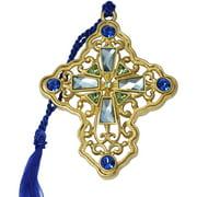 Gloria Duchin Filigree Gold Cross with Blue Crystals Christmas Ornament