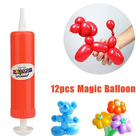 Womail 12 PCS Latex Twisting Balloons Magic Long Balloons Color Party Toys + 1PC Pump