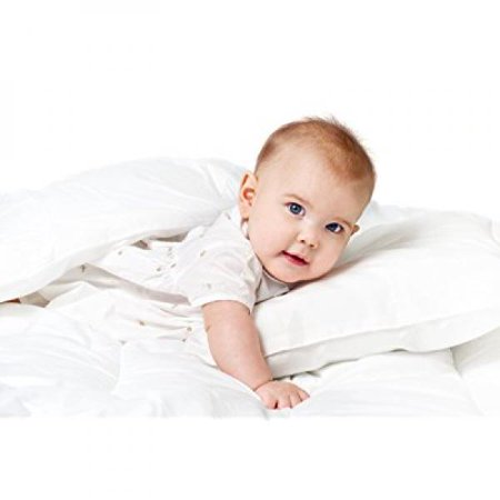 Baby Down Comforter (Baby & Toddler 100% Cotton Cover White Goose Down Alternative Comforter and Pillow Bundle Set, White Crib Baby Set, Baby Shower Gift)