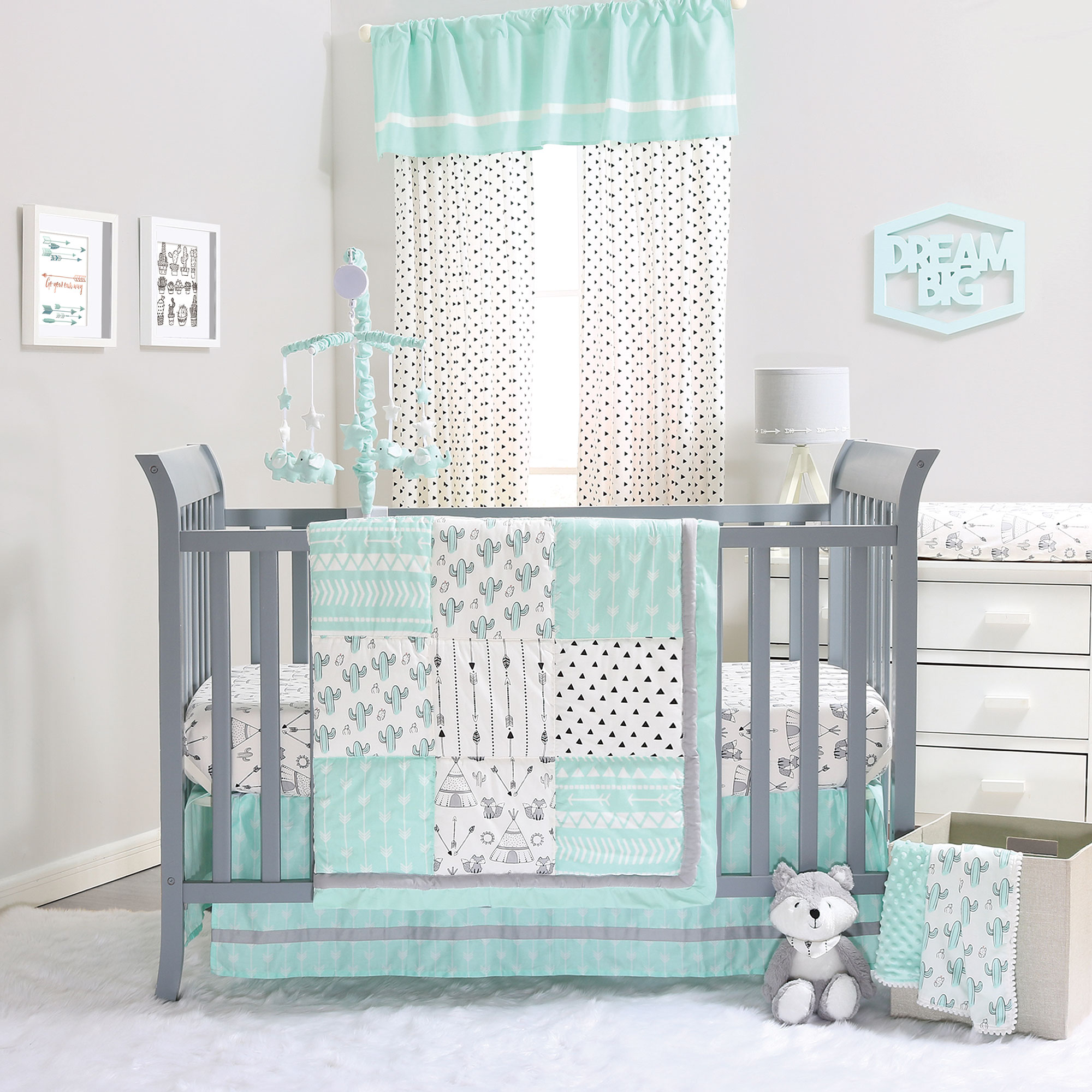Mint Green Southwest Cactus Patchwork 3 Piece Crib Bedding Set by The Peanut Shell