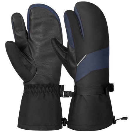 Vbiger Unisex Ski Gloves Warm Winter Gloves Thick Sports Mitten Cold Weather Gloves Touch Screen Gloves with Adjustable Buckle and Elastic Wrist Strap, Black and