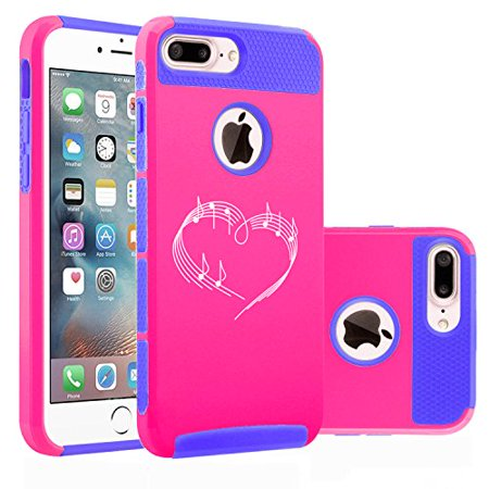 For Apple (iPhone 8 Plus) Shockproof Impact Hard Soft Case Cover Heart Love Music Notes (Hot Pink-Blue) - Music Note Hat