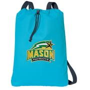 Canvas GMU Drawstring Backpack Aqua Natural Cotton George Mason University Cinch Bag with Wide Straps