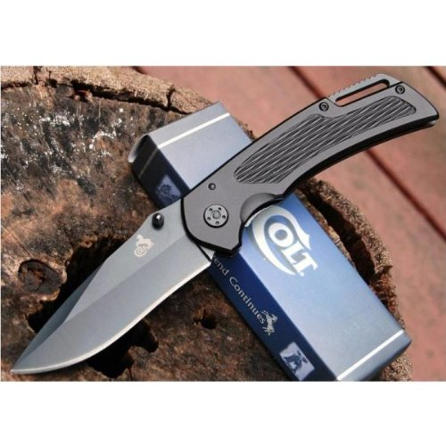Colt Knives 332 Black Linerlock Knife with Pocket Clip Multi-Colored