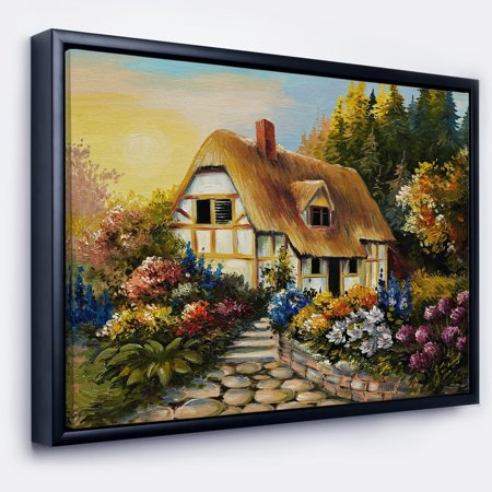 DESIGN ART Designart 'Fairy House Oil Painting' Landscape Painting Framed Canvas Print - Painting Fails