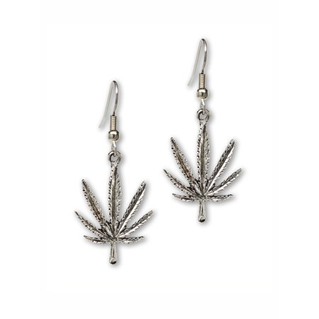 Pewter Dangle Pierced Earrings - Marijuana Weed Pot Leaf Dangle Earrings Silver Finish Pewter by Real Metal Jewelry