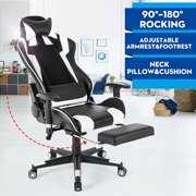 Gaming Chair Racing Style High-Back Office Swivel Chair 90-180 degree Reclining Ergonomic Chair with Adjustable Headrest Backrest Armrests Footrest