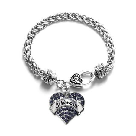 Bridesmaid Navy Blue Pave Heart Bracelet