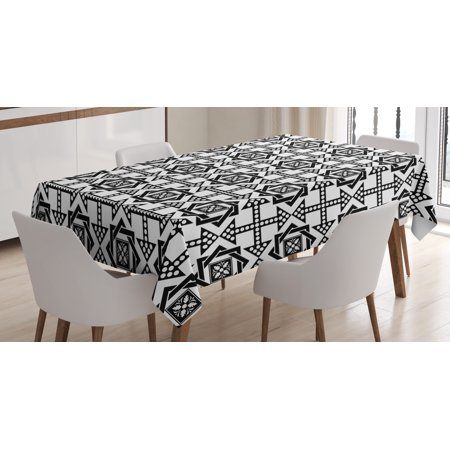 Black and White Tablecloth, Celtic Star Pattern with Arrows with Polka Dots Floral Canonical Design, Rectangular Table Cover for Dining Room Kitchen, 60 X 90 Inches, Black White, by - Black And White Polka Dot Table Cloth