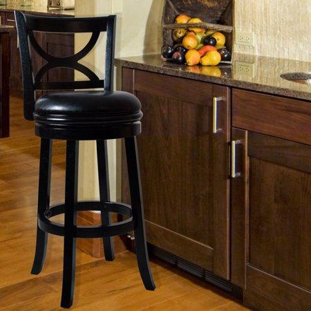 Lavish Home Swivel Wood Stool with Back ()