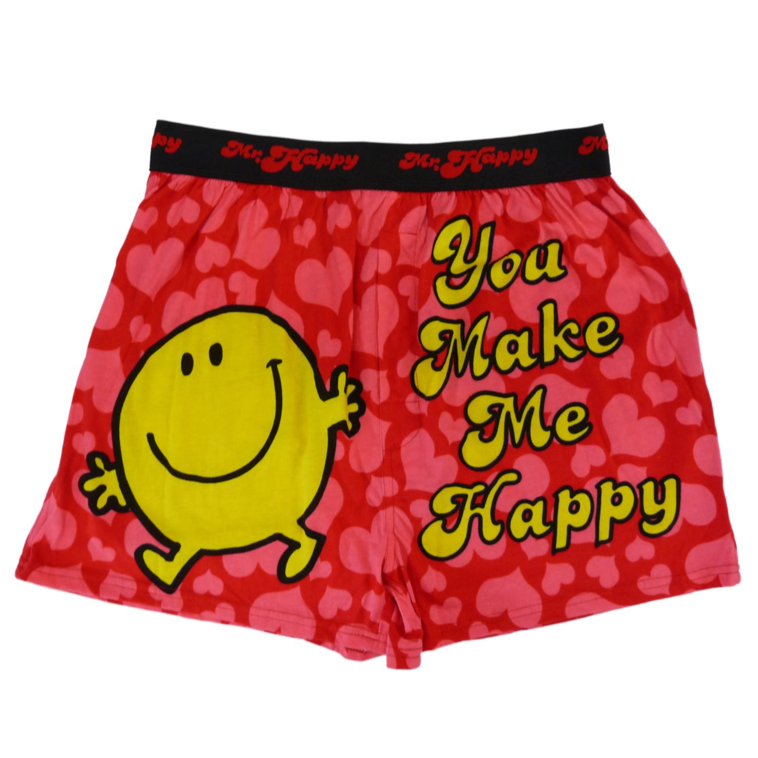 Mr Men Little Miss Mr Happy Mens Pink Heart Boxers Valentine S
