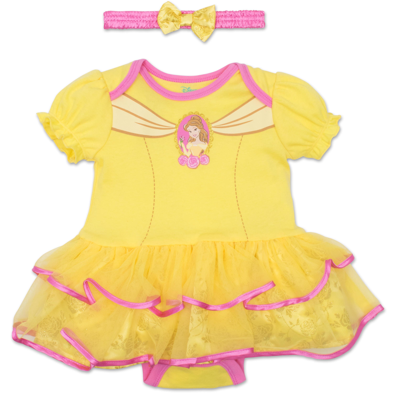 Disney Princess Belle Baby Girls' Costume Tutu Dress Bodysuit and Headband - Yellow