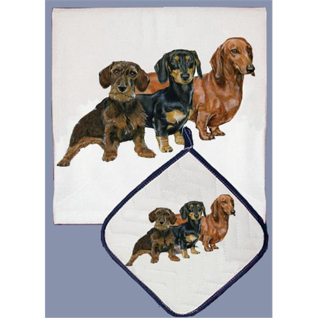 Pipsqueak Productions DP526 Dish Towel and Pot Holder Set Dachshund by