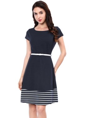 5c0db1f8214 Product Image Unique Bargains Women s Cap Sleeves Boat Neck Striped Belted  Fit and Flare Dress