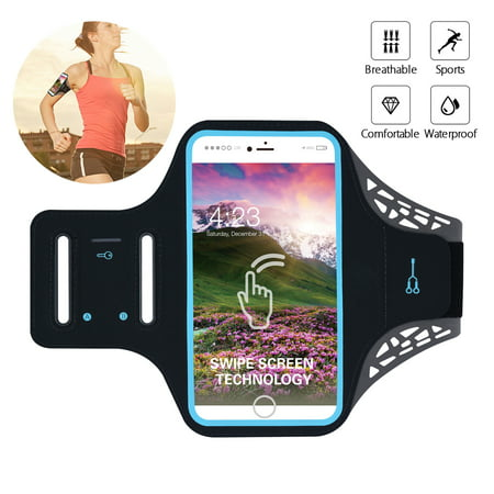 Water Resistant Cell Phone Armband, 6 Inch Case - Adjustable Reflective Workout Band, Key Holder & Screen Touch - for iPhone X, 8, 7, and Samsung Galaxy S9, S8, Note 8, Google (Best Iphone 7 Armband)