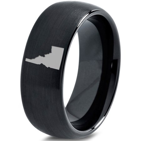 Tungsten Idaho The Gem State Band Ring 8mm Men Women Comfort Fit Black Dome Brushed Polished