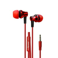 Acuvar wired earbud Headphones with passive noise cancelling, in-line microphone and play/pause button (Red)