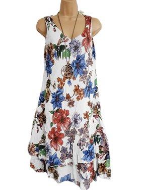94fd2e8a67f Product Image Women s Plus Size T-Shirt Dresses Ladies Double Swing Print  Sleeveless V-Neck Beach