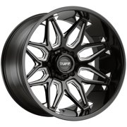 "Tuff T3B 26x14 8x6.5"" -72mm Black/Milled Wheel Rim 26"" Inch"