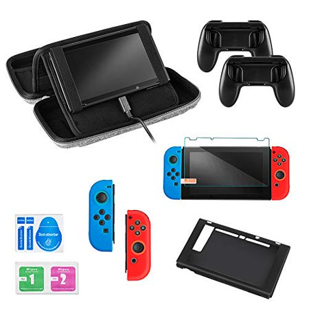 CLDYR Accessories Kit for Nintendo Switch,Deluxe Travel Carrying Bag with stand,Tempered Glass Screen, Joy Con (Bag Kit Screen)