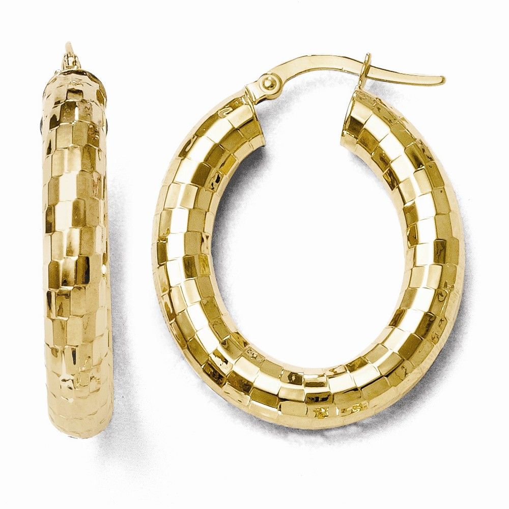 10k Yellow Gold 5.00mm Polished Oval Hinged Hoop Earrings (1.1IN x 0.9IN )