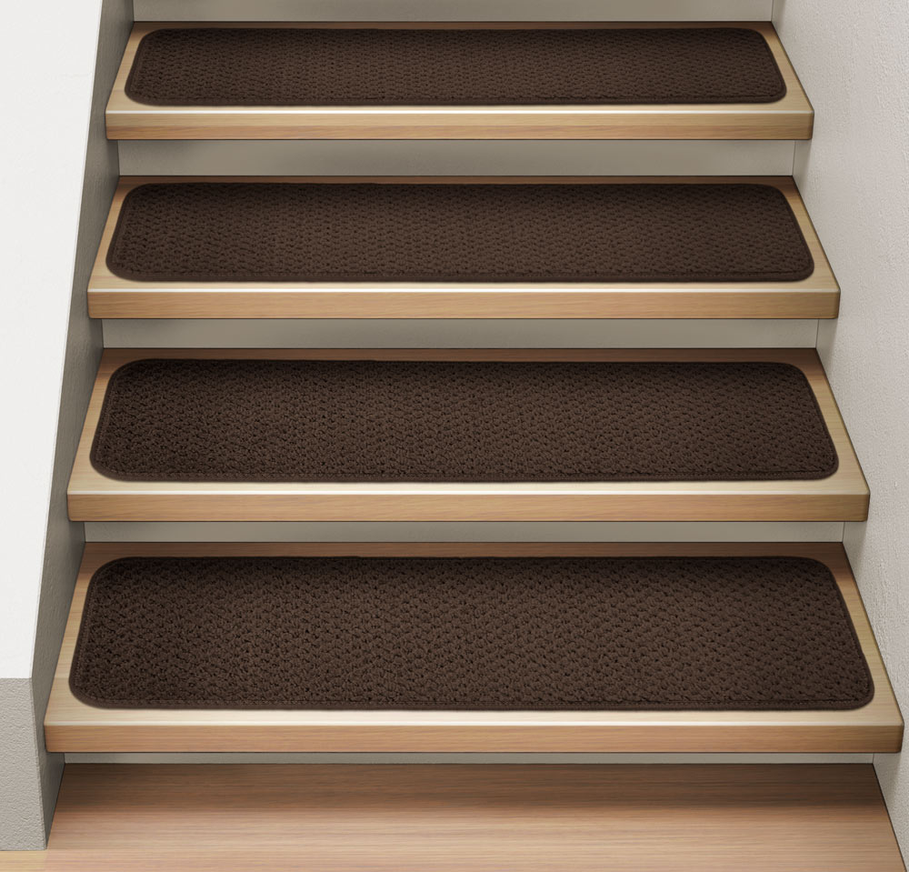 Set of 15 Attachable Indoor Carpet Stair Treads - Chocolate Brown - 8 In. X 23.5 In. - Several Other Sizes to Choose From