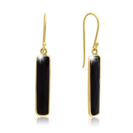 11 Carat Black Onyx Bar Earrings In 14 Karat Yellow Gold Over Sterling Silver 1 Inch