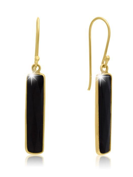 11 Carat Black Onyx Bar Earrings In 14 Karat Yellow Gold 1 Inch