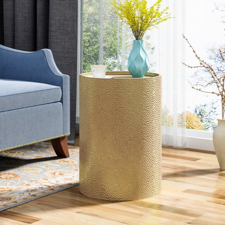 Rache Modern Round Accent Table with Hammered Iron, Gold Hammered Nickel Table