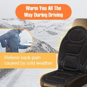 Car Front Seat Heated Cover Hot Pad Heat Cushion Warm Christmas Gift Winter Heater Black Cloth Vehicle SUV Van Black 12V
