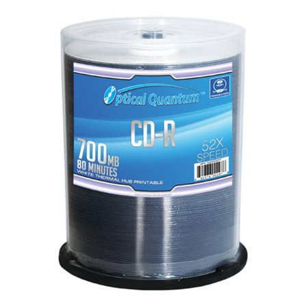 Optical Quantum OQCD52WTP 100 Pack 52x 80 MIN 700 MB CD-R Blank Media White Thermal Printable