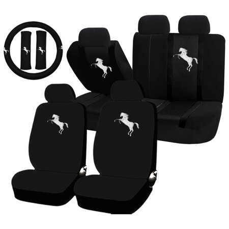 69 Mustang Seat Upholstery (22PC White Pony Horse Mustang Seat Covers & Steering Wheel Cover Set Universal Car)