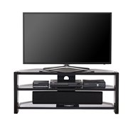 Fitueyes Gray Morden Style Tv Stand Tempered Glass Finished Media Entertainment Center for 32-58inch TVs TS312501GT