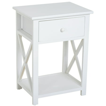 HOMCOM X Frame Design Wood End Table / Nightstand with Storage Drawer (White) Upholstered Storage Table