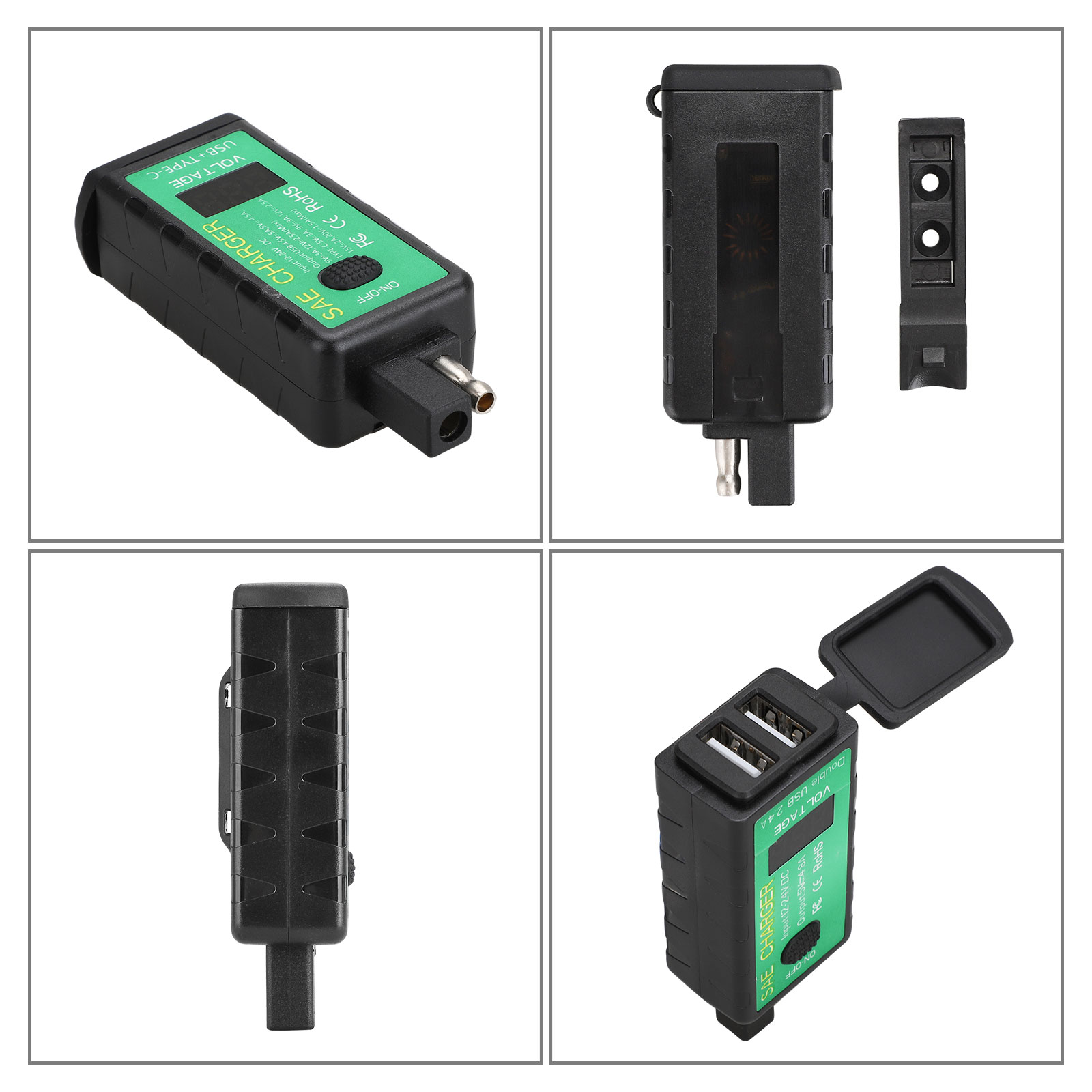 Waterproof Dual USB Ports QC3.0 Fast Charger for Smart Phone Tablet GPS Extractme Motorcycle Dual USB Charger SAE to USB Adapter Cable Kit