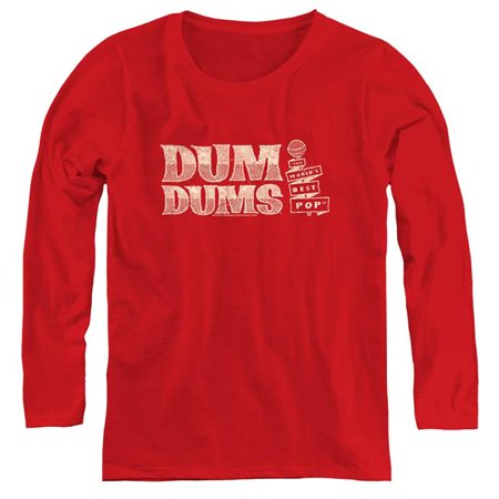 Trevco Sportswear DUM112-WL-5 Womens Dum Dums & Worlds Best Long Sleeve T-Shirt, Red - (Best Sportswear For Ladies)