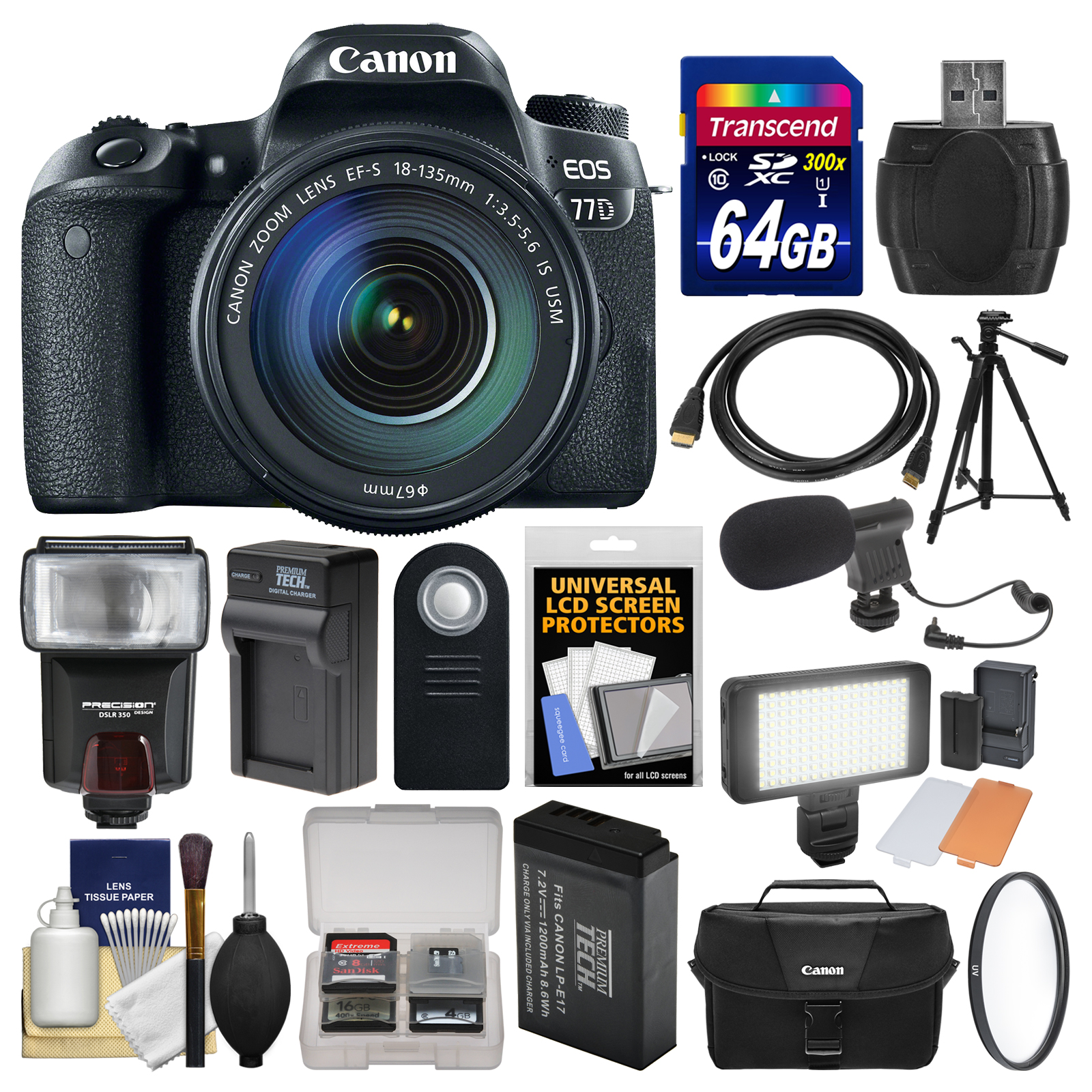 Canon EOS 77D Wi-Fi Digital SLR Camera & EF-S 18-135mm IS USM Lens + 64GB Card + Case + Flash + Video Light +... by Canon