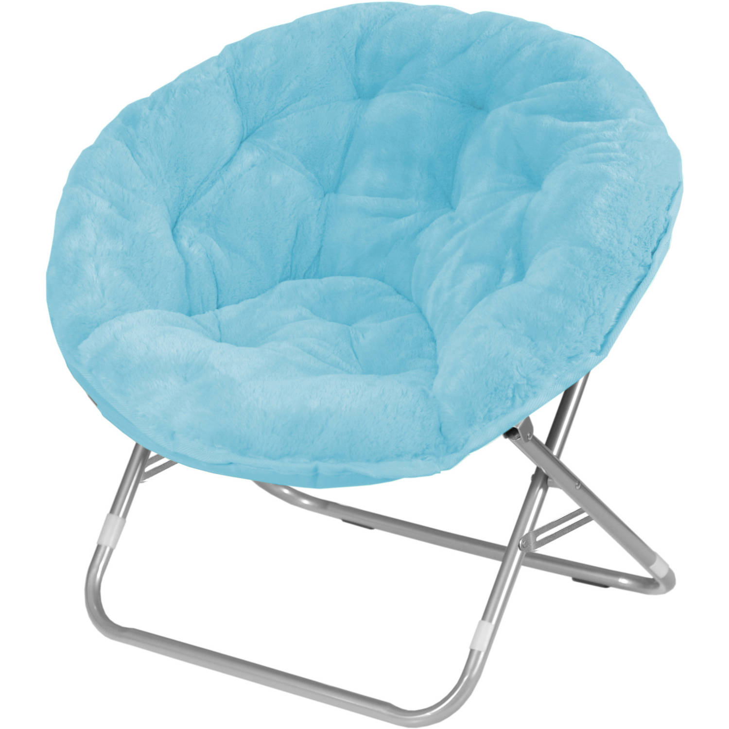 Mainstays Adult Faux Fur Saucer Chair Aqua Walmart