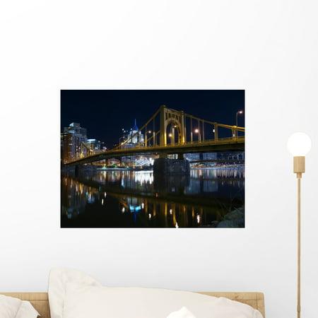 Pittsburgh Bridges Night Wall Mural by Wallmonkeys Peel and Stick Grap