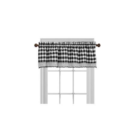 Gingham Plaid Window Curtain Valance Treatment with Macrame Trim - Black ()