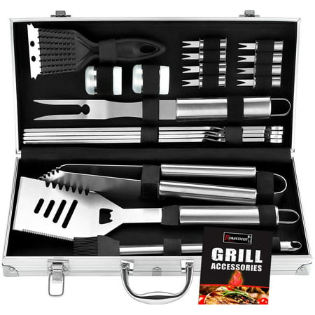 ROMANTICIST 20pc Heavy Duty BBQ Grill Tool Set in Case - The Very Best Grill Gift on Birthday Wedding - Professional BBQ Accessories Set for Outdoor Cooking Camping Grilling Smoking Very Best Gifts