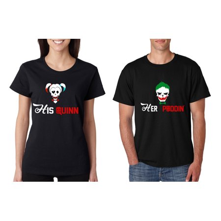 Couple T Shirt His Quinn Her Poddin Matching Outfits For Halloween (Couples Halloween Shirts)