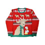 Mens Red Beer Drinking Goat Knit Ugly Christmas Sweater Holiday SM