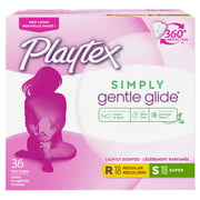 Playtex Simply Gentle Glide Tampons, Scented, Regular/Super, 36 Ct