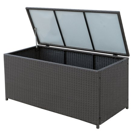 47x21x23inch Outdoor Garden Rattan Storage Box Wicker Home Furniture Indoor Storing Unit with Lid Coffee - image 6 of 7