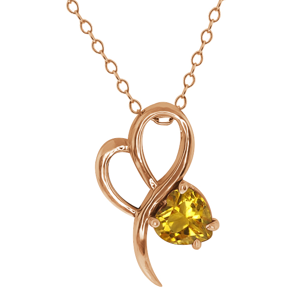 0.72 Ct Heart Shape Citrine Gold Plated Sterling Silver Pendant