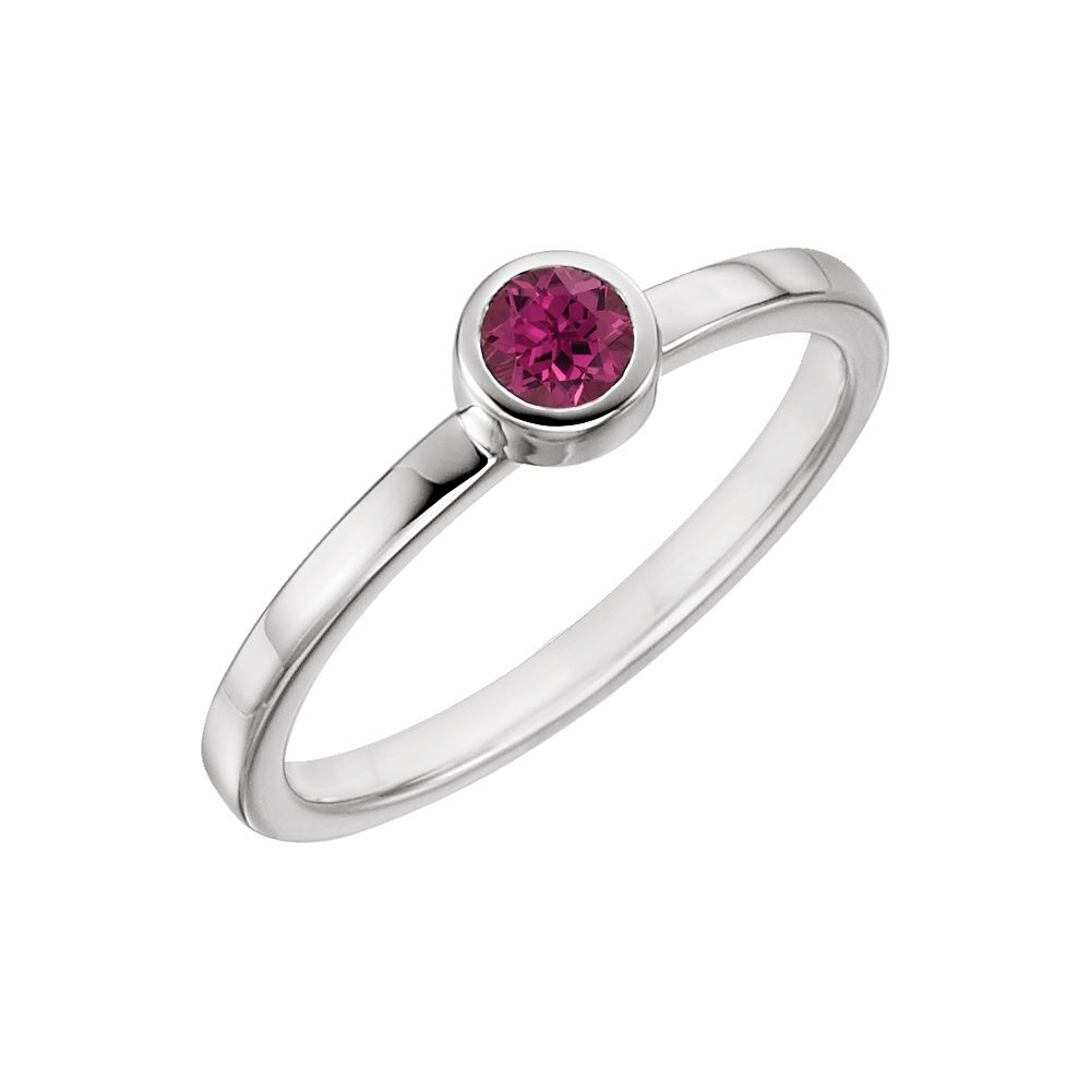 14k White Gold Pink Tourmaline Bezel Set Solitaire Gemstone Ring by Tourmaline Sets